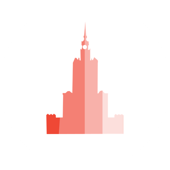 stylized palace of culture and science icon with shades of pink