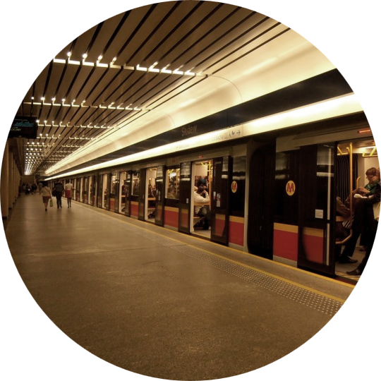view of the Warsaw metro with open doors from the station